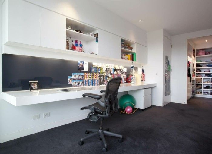 home office einrichten modern schwarzer boden | Büro | Pinterest ...