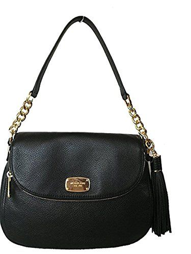 a6072b6423 Michael Kors Bedford Medium Tassel Crossbody Leather Bag - Black (Large