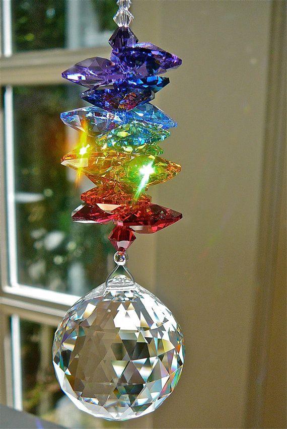 Window Prism Swarovski Crystal Suncatcher Rainbow Maker Etsy Crystal Suncatchers Rainbow Maker Wind Chimes