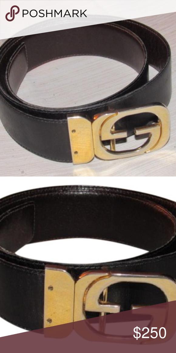 a54a732c540 Vintage Gucci belt w  gold hardware+black leather Vintage Gucci belt ...