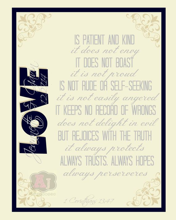 Love is... 1 Corinthians 13 Bible Verse Print *PERSONALIZED wedding ...