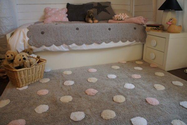 Kinderzimmerteppich Punkte Rosa Grau Weiß