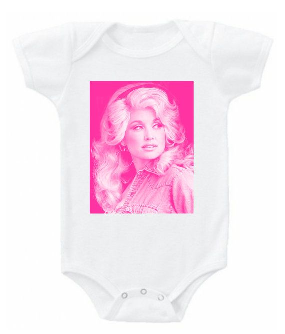 9fc37fde7 Vintage Dolly Parton graphic image in pink pop country western baby  bodysuit onesie or kids t tee shirt top Southern infant nashville shirt