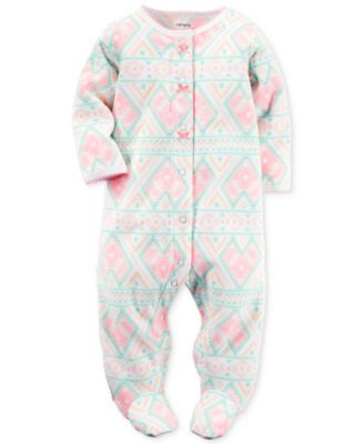 6d45e2b7c Carter s Baby Microfleece Girls  Aztec-Print Footed Coverall ...