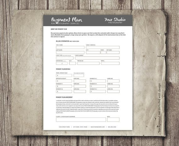 Photography Business Form - Payment Plan - Financial Contract Invoice Template for Photographers - Payment Worksheet Plan - INSTANT DOWNLOAD  So