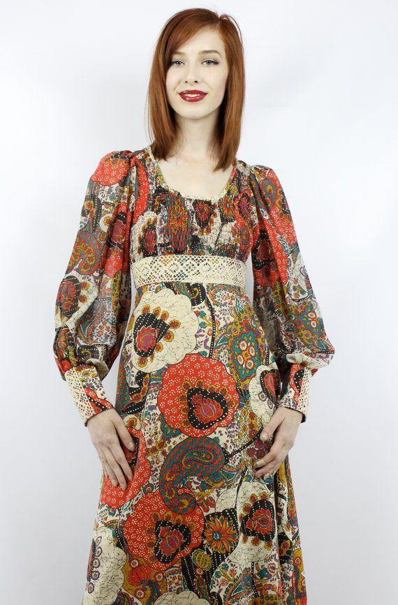 Vintage Hippie Dress Vintage Floral Dress Hippy Dress Boho Etsy Hippie Dresses Vintage Maxi Dress Vintage Floral Dress