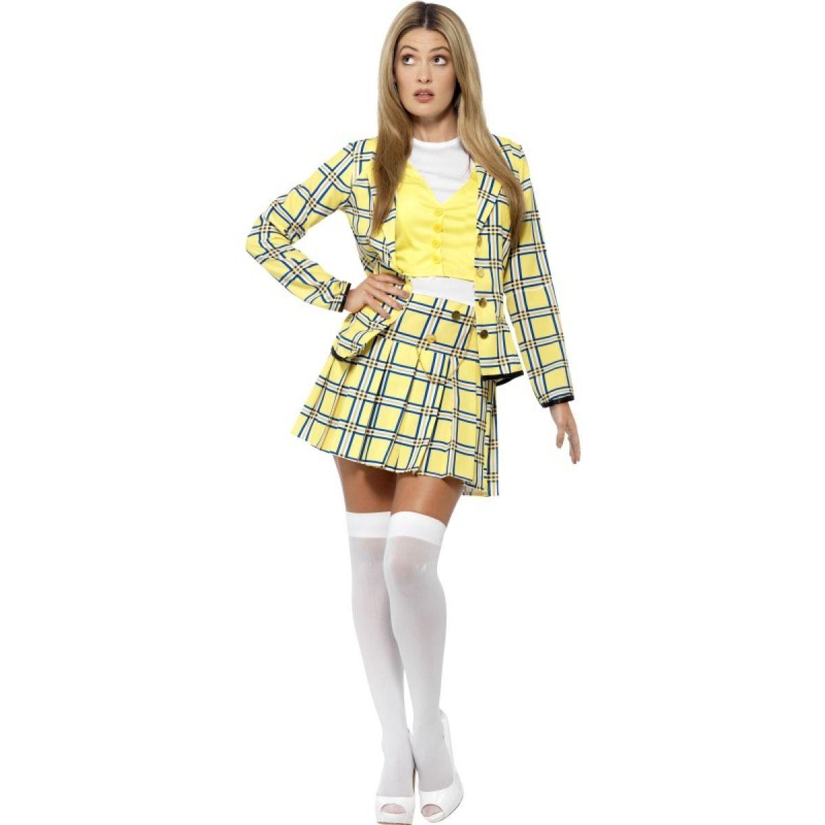 Ladies 90s Yellow Tartan Print Clueless Cher Costume20597