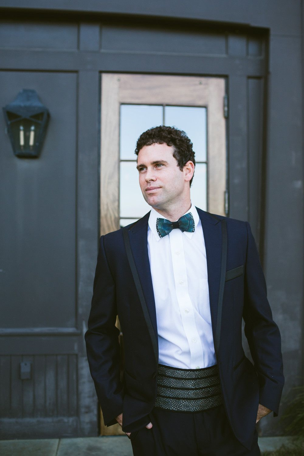67c853f35a63 The quintessential Green Pond feather bow tie paired handsomely with our Guinea  Cummerbund. Hands down