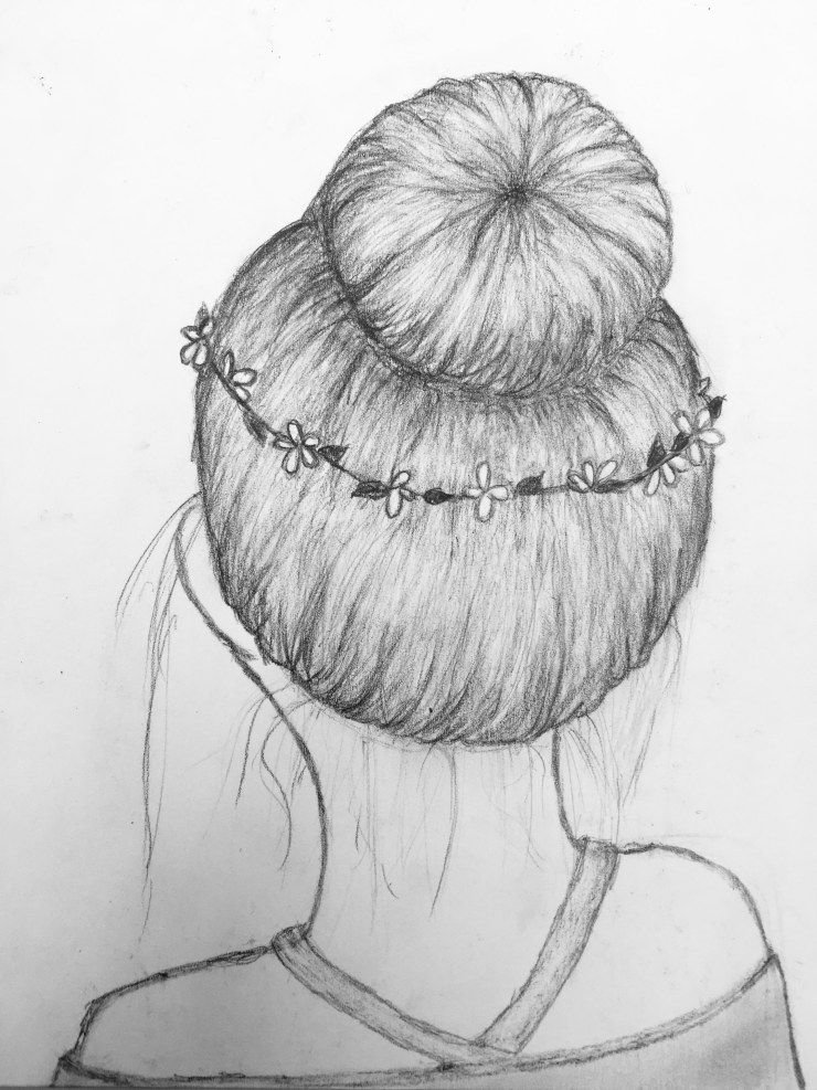 How To Hair Draw Bun Messy Flower Girl Back Sketch Drawing Hairstyle Head Dress Shirt Shading How To Draw Hair Easy Drawings Hair Sketch