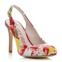 Red fabric Dulce floral print heeled slingback court shoe - Ladies Designer Shoes