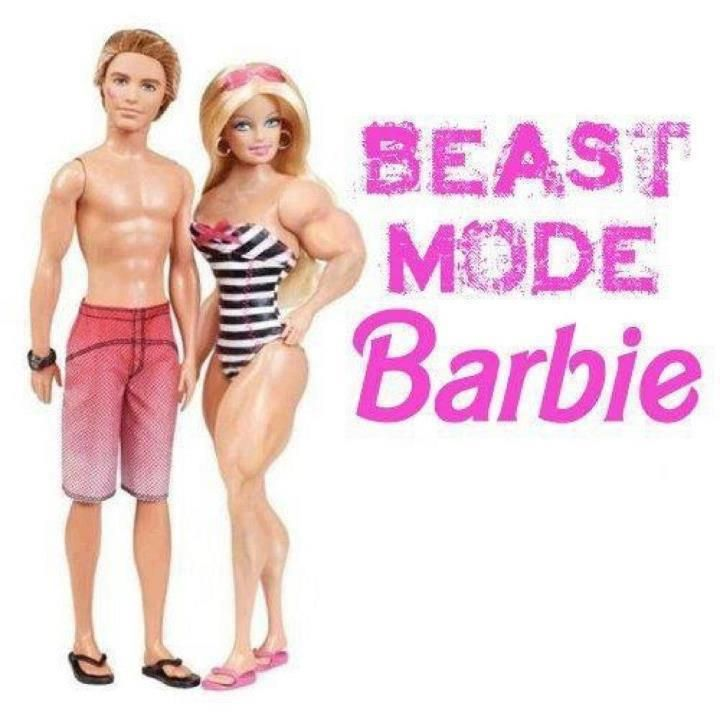 Love it but I wish Barbie was holding Ken overhead :)