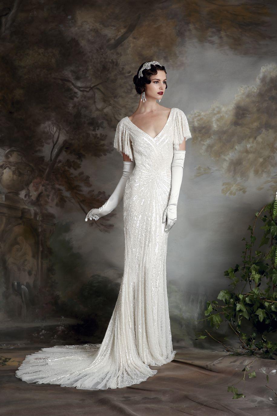 Vintage wedding dress 20s, Art deco wedding dress, Deco wedding ...