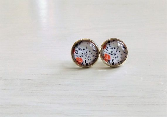 Navy floral glass studs floral photo earrings by NestBirdDesigns