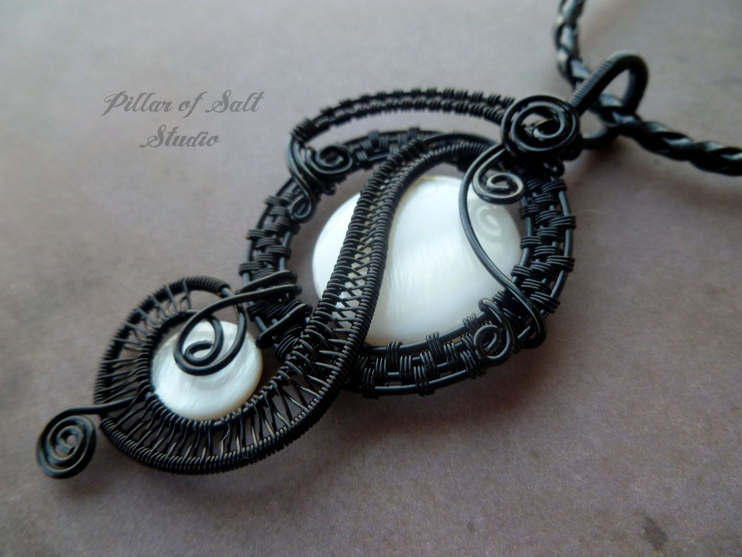 Wire Wrapped Pendant necklace wire wrapped by PillarOfSaltStudio, $50.00