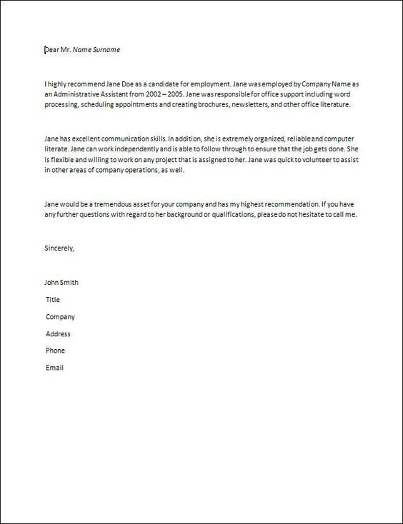 letter of recommendation samples recommendation letter How to - sample work reference letter