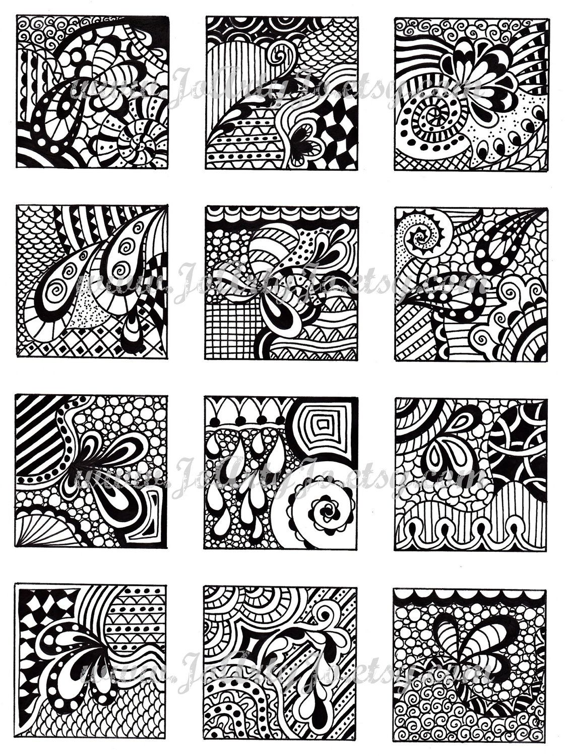 Digital Collage Sheet Black And White Images Abstract Zentangle