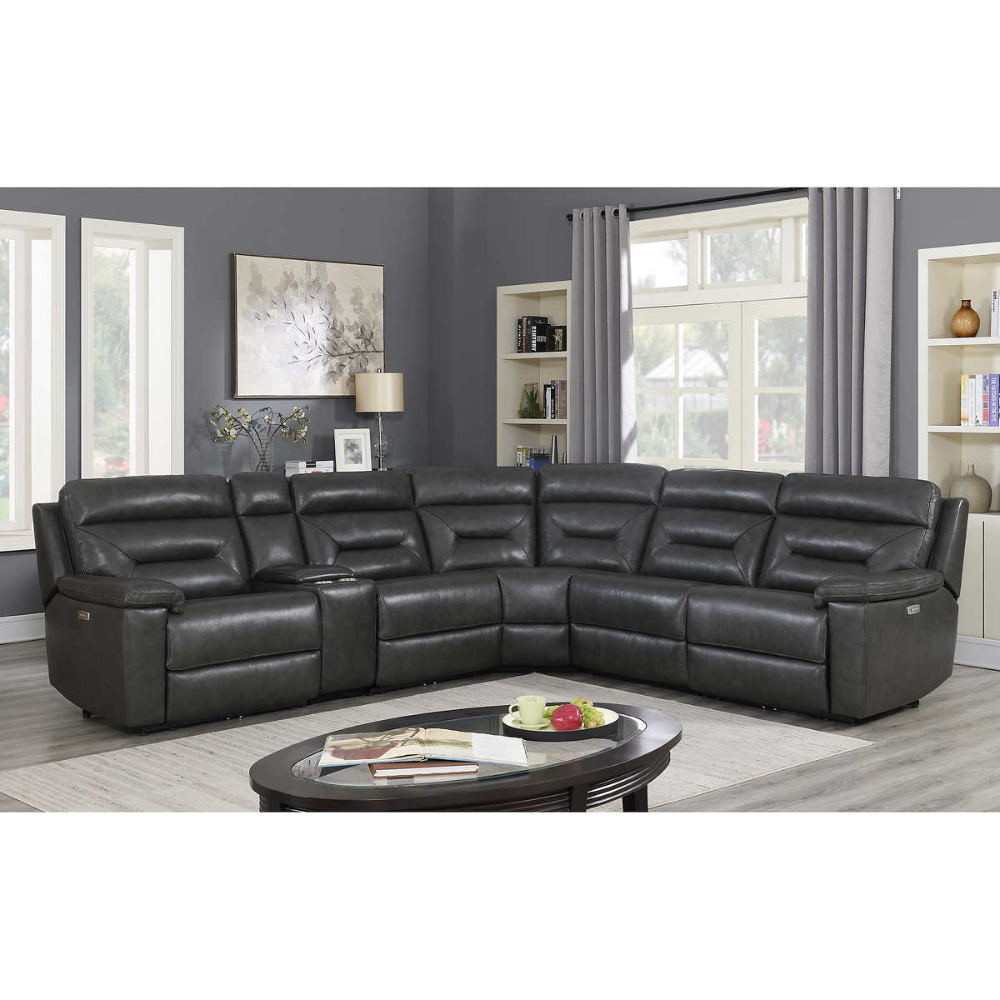 Corry 6 Piece Leather Power Reclining Sectional Sofa Gray In 2020 Reclining Sectional Power Reclining Sectional Sofa Sectional Sofa