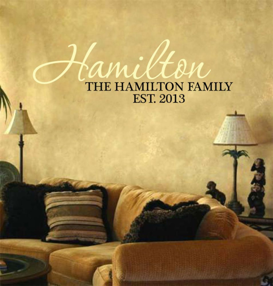 Hamilton Personalized Last Name and Est Date Vinyl Wall Art ...