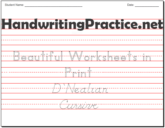 Make Your Own Writing Worksheets For Kindergarten