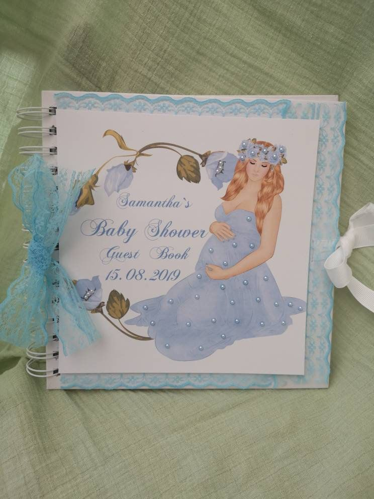It/'s a Boy HANDMADE Personalised Baby Shower Guest Book Pregnancy Journal