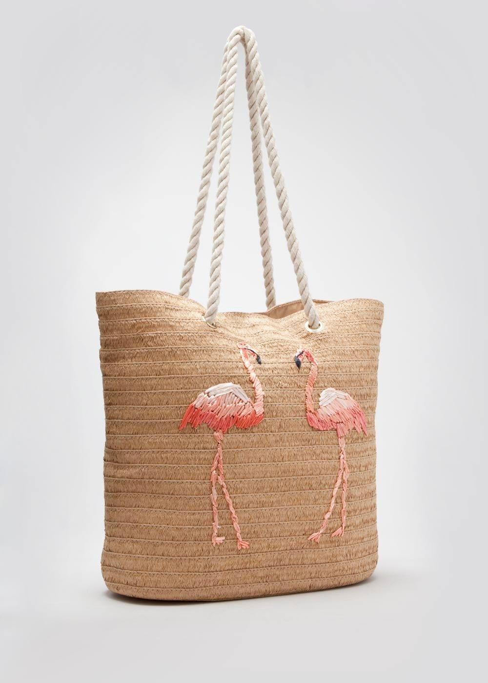 e55cac65e151 Flamingo Print Straw Beach Bag - Matalan