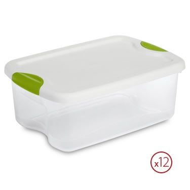 Sterilite 15 Quart Latch Lid Tote Pack Of 12 Plastic Container Storage Plastic Storage Totes Sterilite