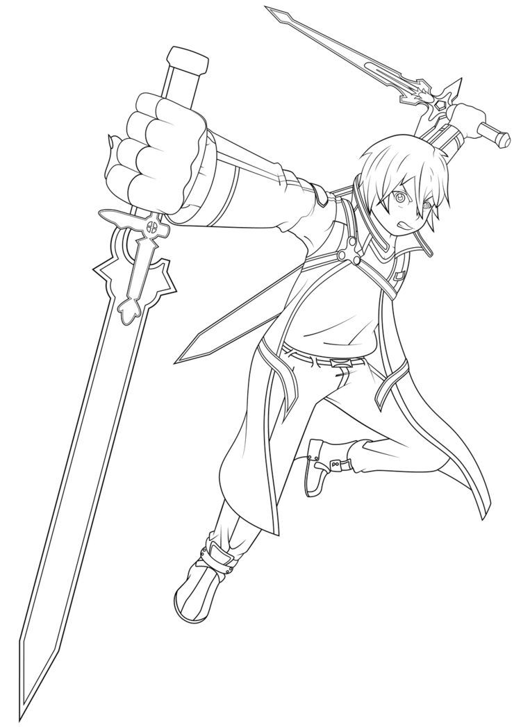 On online coloring and drawing - Sword Art Online Kirito Coloring Pages Images