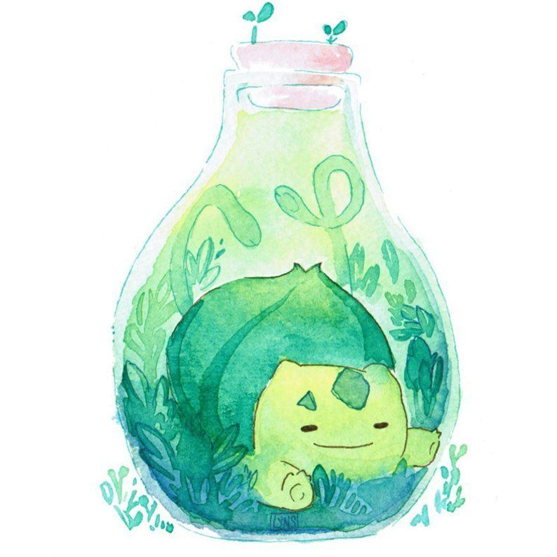 Pokemon Terrarium Paintings made by LynsWatercolors -