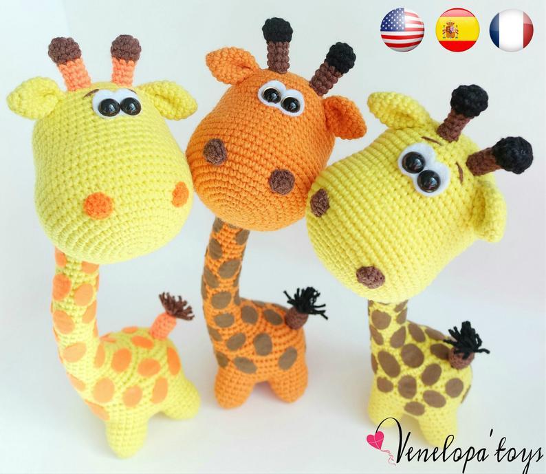 Amigurumi Funny Giraffe pattern. Crochet pattern. Amigurumi safari animals pattern