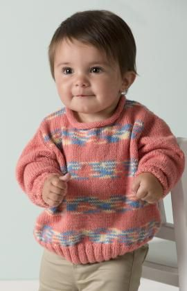 Playful Stripes Pullover Free Knitting Pattern from Red Heart Yarns