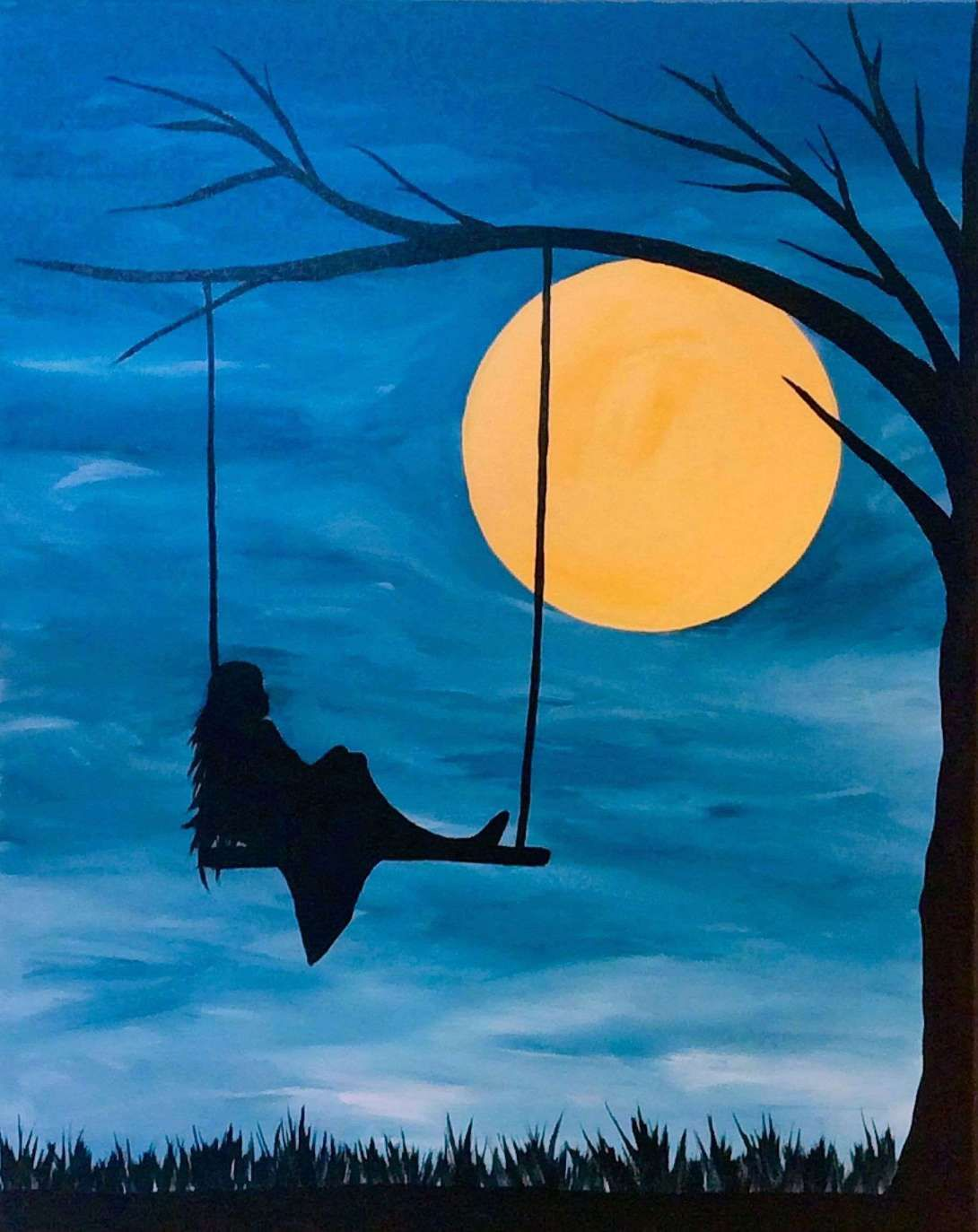Image Result For Easy Acrylic Painting Ideas For Beginners On Canvas Simple Canvas Paintings Silhouette Painting Easy Canvas Painting