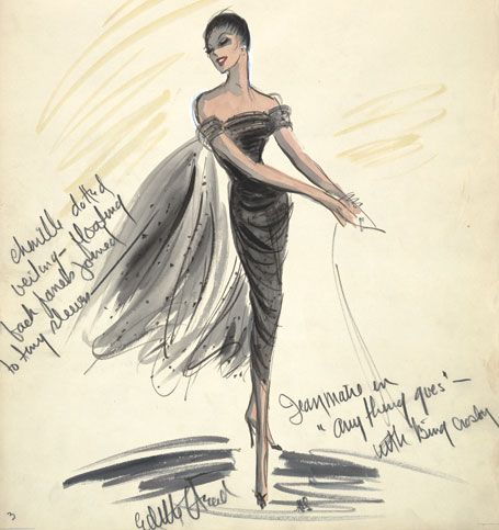 "For ""Anything Goes,"" with Bing Crosby. Edith Head fashion plate."