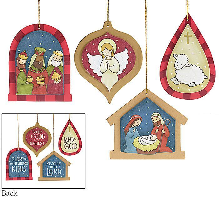 Wooden Christmas Nativity ornaments #nativity #set #Christmas #burtonandburton #decor #holy #family #ornaments #wooden #Carolyn #Figuereo #art