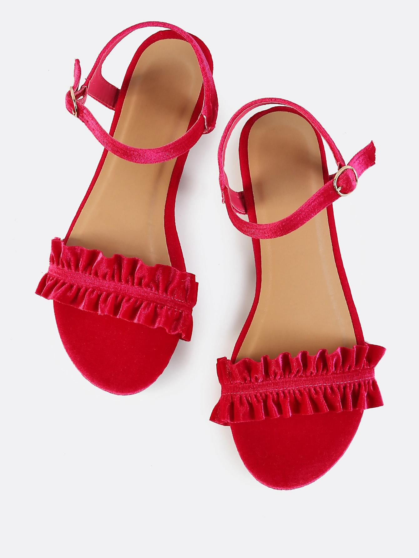Hot pink dress shoes  Ankle Strap Velvet Ruffle Sandals HOT PINK  Summer  Pinterest