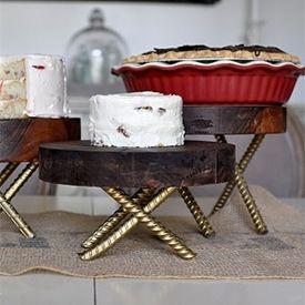 These Rustic Wood Pedestals are easy to make with a little rebar, Gold Foil Spray Paint and a slab from a wood stump!