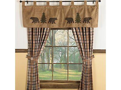 Bear Trees Valance Black Forest Decor Cabin Curtains Log Cabin Decor