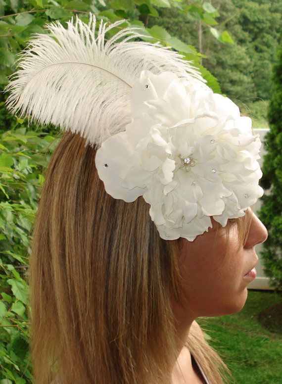 White Peony Hair Comb Fascinator with Feathers by lovelygifts, $30.00