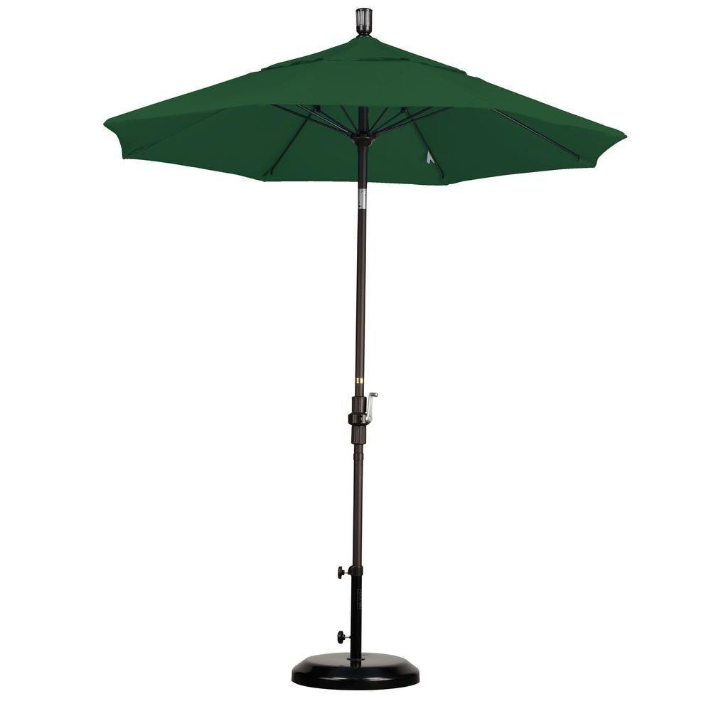 California Umbrella 7-1/2 ft. Fiberglass Collar Tilt Patio Umbrella in Hunter Green Olefin