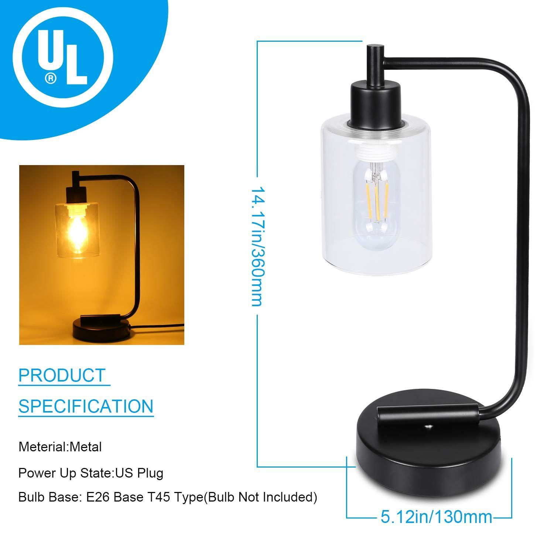 Innqoo Industrial Desk lamp, Bedside Table Lamp Nightstand