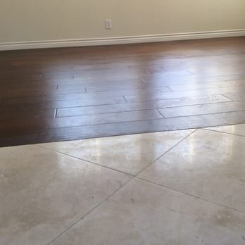 Custom No Transition Molding Between Existing Travertine And New Wood Floors Yelp Vinyl Flooring Kitchen Flooring Transition Flooring