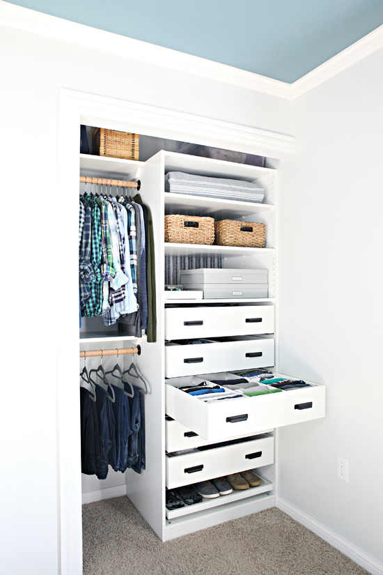 32 An Organized Teen Boy Closet is part of Organization Bedroom Closet - Our son's closet came together even better than I could have imagined! I love every last detail, and the best part is that all it took was s