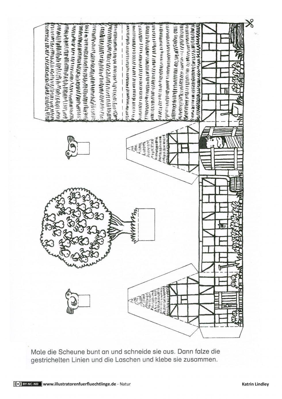 Download Als Pdf 4 Seiten Natur Bauernhof Haus Menschen Tiere Bastelvorlage Lindley Casette