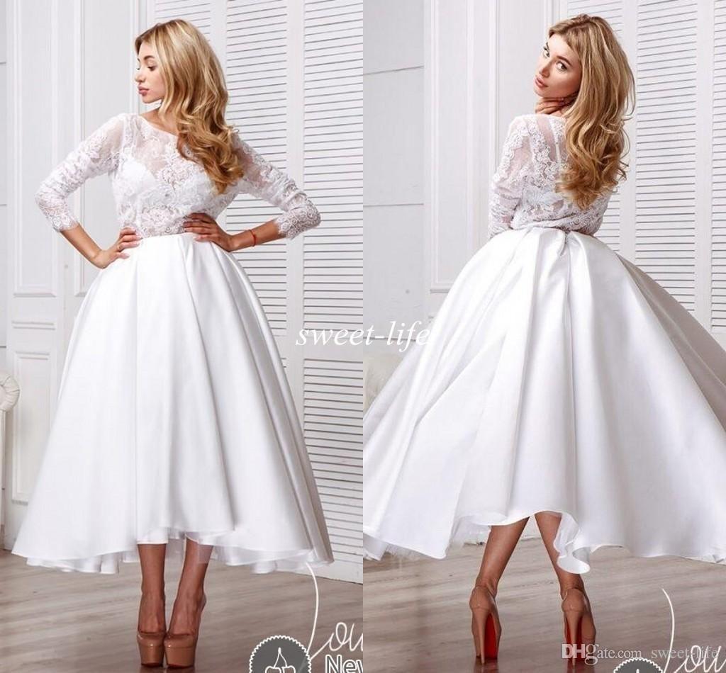 Modest Tea Length Wedding Dresses with Long Sleeves