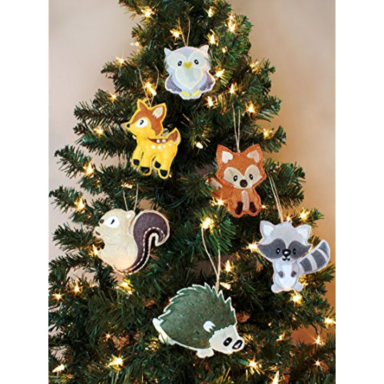 my forest friends christmas ornament set 6 piece set plush holiday animal tree decoration set with baby woodland creatures fox raccoon squirrel