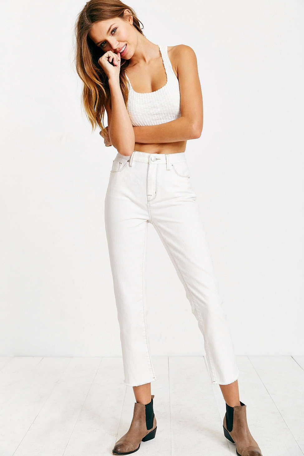 Bdg super highrise ankle kick jean white wash urban outfitters