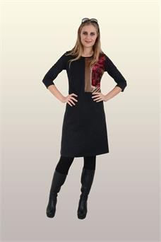 Otantik Giyim-708- Kare Peçli Elbise-Siyah