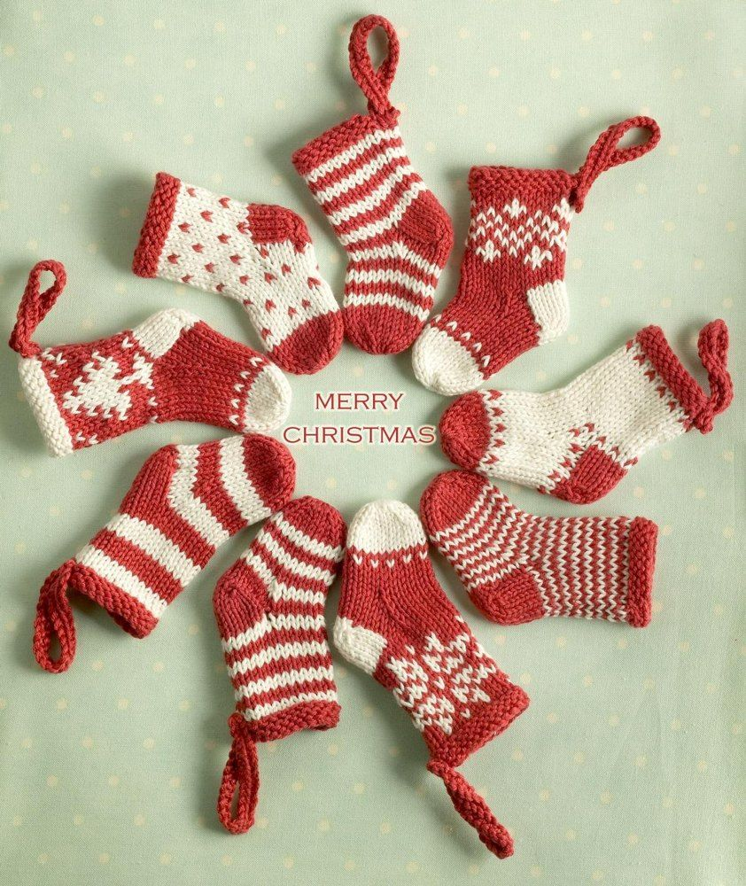 A knitting pattern for mini Christmas Stockings! - Hang them on your ...