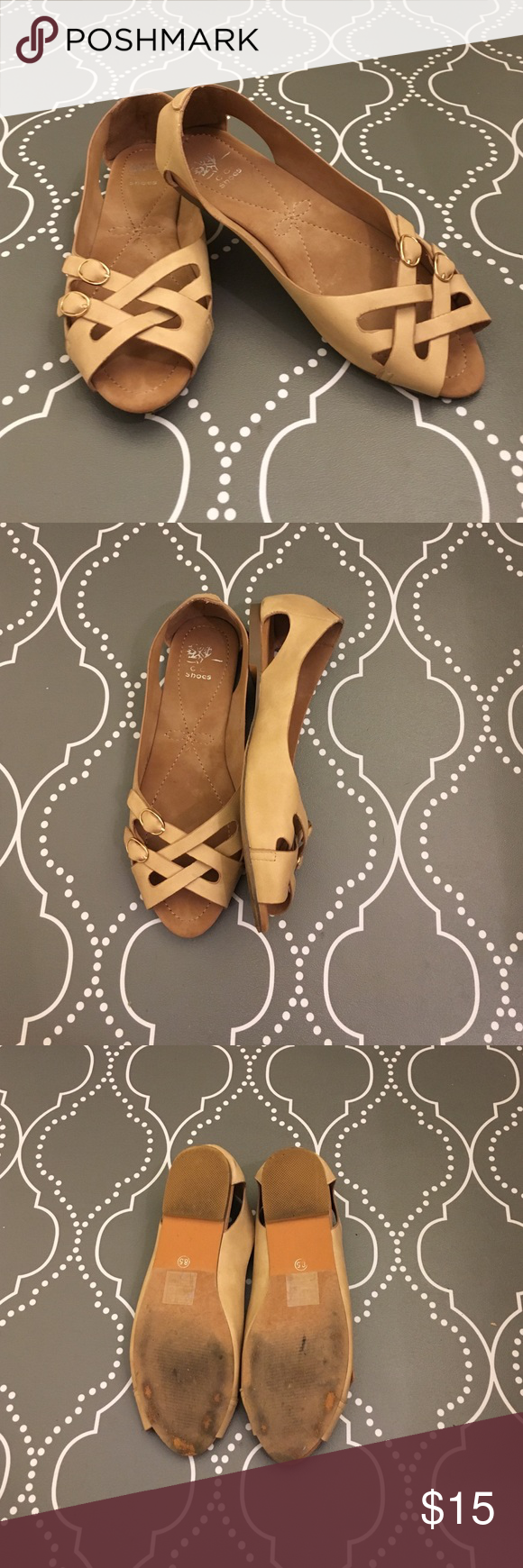 G. C. Shoes - Leather Peep Toe Nude Flats Leather flats perfect for summer. They are a tad too small on me, but as you can see there is some light wear on the bottoms. Make me an offer! Shoes Flats & Loafers
