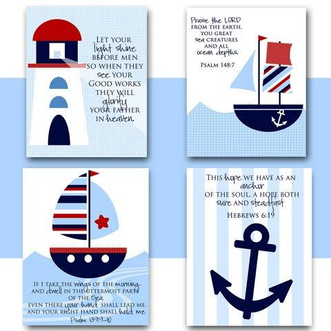 Nursery Wall Art Nautical Theme Boat Lighthouse Anchor With Verses Instant Kids Room