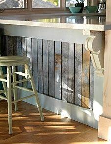kitchen counter vintage barnwood detail - genius!